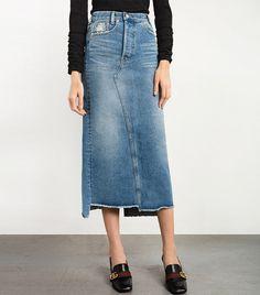 Pixie Market Denim Frayed Maxi Skirt Hijab Trends, High Waisted Denim Skirt, Look Street Style, Cute Pants, Long Skirts For Women, Summer Skirts, Denim Fashion, Maxis, Maxi Skirts