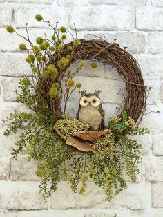 Owl Fall Wreath Front Door Wreath Fall Door by AdorabellaWreaths