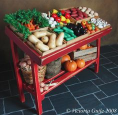 Miniature Vegetable Market Stand  by NJD Miniatures