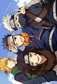 Naruto - Team Minato: Kakashi, Minato, Obito, and Rin Naruto Shippuden Sasuke, Naruto Kakashi, Anime Naruto, Gaara, Otaku Anime, Manga Anime, Anime Ninja, Manga Girl, Naruto Wallpaper