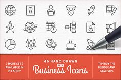 Hand Drawn Business Icons - Set 2 by Swedish Points on Creative Market