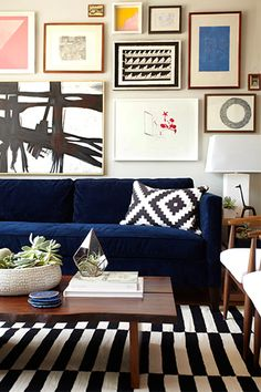 Navy, black and white, cherry wood finish, neutral gallery wall
