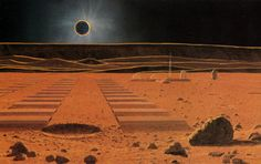 The Lunar Base During Eclipse by William Hartmann