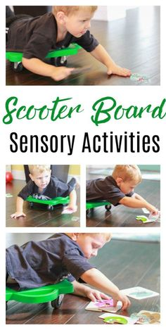 Scooter Board Sensory Activities. Therapy for kids with sensory processing disorder difference. #SPD #occupationaltherapy #autism