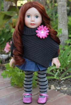 "18 inch Doll Lyric, by Harmony Club Dolls, looks beautiful in this Fall /Winter Poncho Set available at www.harmonyclubdolls.com. Visit Lyric and Our Complete line of Outfits for 18"" dolls and American Girl Dolls at www.harmonyclubdolls.com"