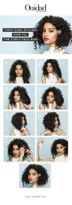 Ouidad Tight Curl Styling How-To: Curly Faux-Bob.  Your tight curls' natural corkscrew pattern is the perfect foundation for this simple, pinned-under updo. Try this style to keep your hair off your neck while letting your curls frame your face.