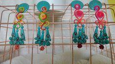 Turquoise Gemstone Earrings Boho Design Handmade Semi Precious