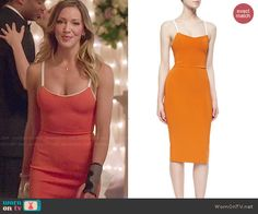 Laurel's orange dress on Arrow.  Outfit Details: http://wornontv.net/47235/ #Arrow