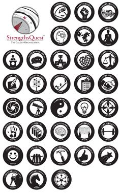 At Cal Poly, SLO, they have faculty and students assess their strengths with StrengthsQuest. One of the tasks commissioned to me from the school was to develop logos for each individual strength.