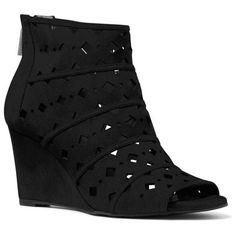 Michael Michael Kors Black Uma Wedge Bootie - Women's ($160) ❤ liked on  Polyvore