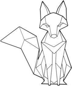 Geometric Fox, Geometric Drawing, Geometric Shapes, Fox Drawing, Line Drawing, Art Fox, String Art Diy, Art Sketches, Art Drawings