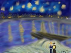 Recreation of Van Gogh's Starry Night on the Rhone