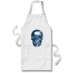 Blue Chrome Skull Apron http://www.zazzle.com/blue_chrome_skull_apron-154564554741693912?rf=238271513374472230  #halloween