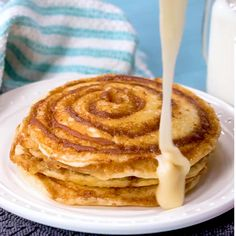 These Cinnamon Roll Pancakes will be the star of the show at breakfast time! Swirls of cinnamon through out and topped with cream cheese glaze! is part of Cinnamon roll pancakes - Best Breakfast Recipes, Breakfast Dishes, Breakfast Time, Brunch Recipes, Dessert Recipes, Breakfast Pancakes, Yummy Breakfast Ideas, Cake Mix Pancakes, Ihop Pancakes