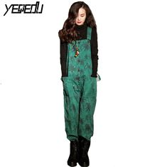 2819160bdd ... leaves Vintage Overalls for women Korean Summer jumpsuits Fashion Loose  Plus size rompers Wide leg Harem jumpsuit-in Jumpsuits from Women s Clothing  on ...