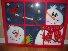 """I went to a painting class last week to paint a Christmas window.  It was like a sips-n-strokes but on a window, not a canvas.  When I brought it home, I added a layer of black paint on the back and then painted the frame red.  The instructions were to write """"Let it snow! Let it snow! Let it snow!"""" on the frame, but I didn't.    I'm such a rebel.  I like painting on glass, y'all."""