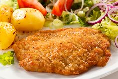 Basic Breaded Pork  Breadths pork and fry in heavy bottomed skillet for 4-6 minutes per side
