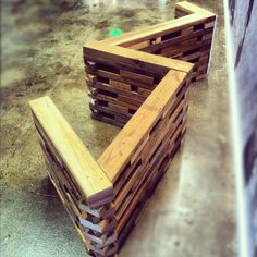 2x4 bench made of reclaimed wood