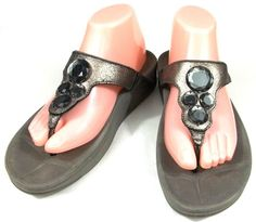 FitFlop Fitness Flip Flop Sandals Womens Size 9 M Silver Gray Jewel Shoes #FitFlop #FlipFlops