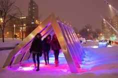 Image 6 of 12 from gallery of Iceberg / Courtesy of Martine Doyon, Montreal Quartier des Spectacles Partnership Montreal Ville, Montreal Canada, Interactive Installation, Light Installation, Outdoor Landscaping, Light And Shadow, Architecture, Water Features, Lighting Design