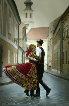 Folk dancers Katinka Kepes and János Balogh are dancing @ Buda Castle in Budapest, Hungary