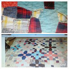 this is the quilt my grandmother made me as a girl,  40 years later it is wearing out as seen in top photo