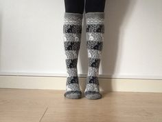 READY TO SHIP knitted long socks grey grey black cats kitten pattern fair isle White And Black Cat, Black Cats, Fair Isle Pattern, Wool Socks, Knitting Ideas, Lovely Things, Cats And Kittens, Knitwear, February