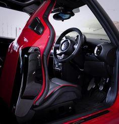 that seat is insane! Mini Cooper Sport, Mini Cooper Clubman, Mini Coopers, Mini Cooper Interior, Mini Paceman, Wide Body Kits, British Car, Car Mods, Mini One