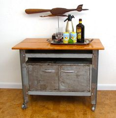 Vintage Industrial furniture rolling cart storage bar work table Bare steel Austin Modern
