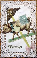1908 Diecut Color Litho Postcard: Pig & Silk Ribbon on Lace