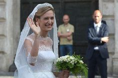 rtl.be:  Wedding of Prince Amedeo of Belgium, Archduke of Austria Este, and Miss Elisabetta (Lili) Maria Rosboch von Wolkenstein, Rome, July 5, 2014-Lili wearing a couture gown by Valentine and Queen Elisabeth's Diamond Bandeau Tiara, which belongs to the Belgian Royal Family.