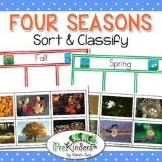 This is a sorting & classifying activity to teach students about the four seasons. This set contains classification cards for spring, summer, fall, & winter. This is a great activity for a classroom Science Center for Preschool, Pre-K, Kindergarten, & First Grade. The activity uses real photographs of the four seasons.