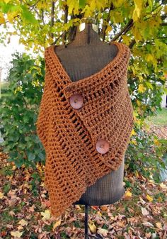 Ginger Wrap Extra Large Crochet Button Wrap Shawl by LazyTcrochet
