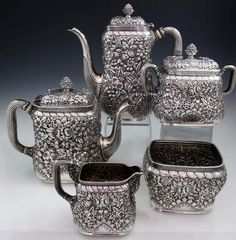 Tiffany Antique Sterling Hand Chased Tea and Coffee Set