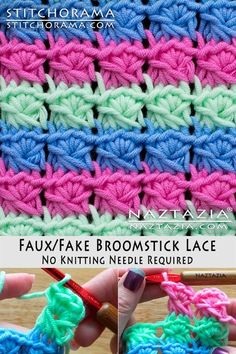 How to Crochet Faux Fake Broomstick Lace without a Knitting Neeedle DIY Tutorial YouTube Video by Donna Wolfe from Stitchorama by Naztazia