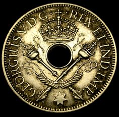 1935 BRITISH New Guinea RARE Sterling Silver Shilling GORGEOUS