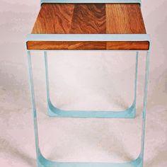 Tang sidetable - powder coated steel and oak  Tom vousden design