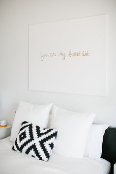 Ashley Rose's Houston Townhouse Tour // bedroom // black and white // DIY art // Photography by Kimberly Chau