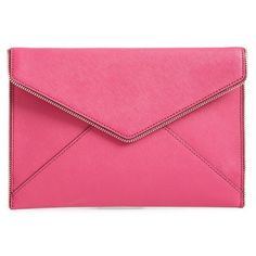 Rebecca Minkoff 'Leo' Envelope Clutch ($76) ❤ liked on Polyvore featuring bags, handbags, clutches, bolsa, magenta, rebecca minkoff purse, envelope clutch bag, genuine leather purse, pink envelope clutch and zipper purse