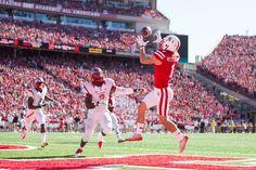 Nebraska 42, Rutgers 24: NU's Jordan Westerkamp catches a touchdown pass at Memorial Stadium on Oct. 25, 2014. By: BRENDAN SULLIVAN/THE WORLD-HERALD