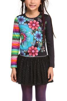 "Buy Online Desigual Girls Dress ""Vara"", style 47V3177. 47V3177 2017. Girl's black cotton dress with colourful floral design and gauze skirt, long sleeves"