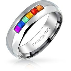 Bling Jewelry Bling Jewelry Stainless Steel Channel Set Gay Pride... ($11) ❤ liked on Polyvore featuring men's fashion, men's jewelry, men's rings, multicolor, mens stainless steel wedding rings, mens wedding rings, mens band rings, mens channel set diamond ring and mens stainless steel rings