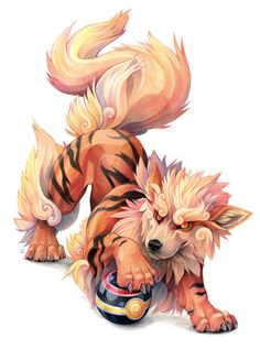 sushi-studios: Coloured pencil drawing of an Arcanine. Tryed...