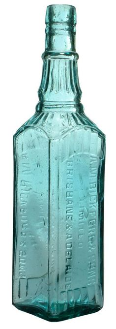 A. M. Bickford & Sons Limited. Brisbane & Adelaide. Fancy square section cordial bottle. c1910s