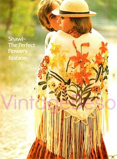 Shawl Flowery Pattern of 3 Crafts EMBROIDERY by VintageBeso