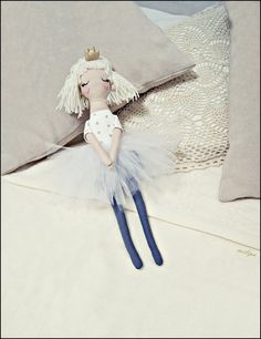 "LITTLE PRINCESS, rag doll, cloth doll, stuffed doll, princess doll, tutu dress, white, gold, gray, 14.5"" (37cm)."