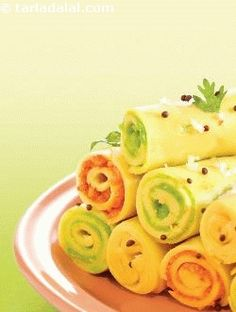 Stuffed Khandvi ( Non- Fried Snacks ) recipe | by Tarla Dalal | Tarladalal.com | #33287