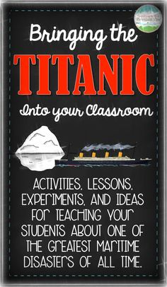 A HUGE collection of Titanic Lessons, Experiments, Activities, and More! Bring Titanic into your classroom with these ideas! Teaching Social Studies, Teaching History, Teaching Resources, Teaching Ideas, Teaching Tools, Experiment, Titanic History, Rms Titanic, Magic Treehouse