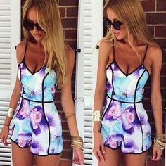 Online Shop top 2015 printing jumpsuits v-neck sexy women jumpsuits sexy fashion printing jumpsuits|Aliexpress Mobile