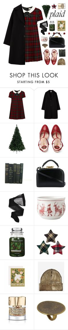 """""""embellished plaid dress"""" by jesuisunlapin ❤ liked on Polyvore featuring Yves Saint Laurent, A by Amara, Gucci, Sophie Hulme, Wolford, Juliska, Yankee Candle, Designs Combined, RIFLE and Topshop"""